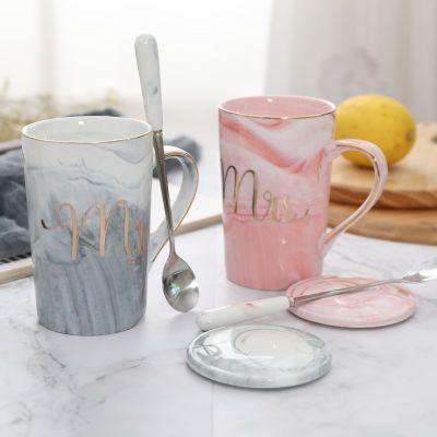 情侣陶瓷马克杯ins咖啡杯配盖勺办公室水杯家用大容量学生牛奶杯
