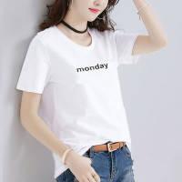 95%棉新款短袖t恤女宽松大码女装白色t恤女体恤半袖夏款t桖