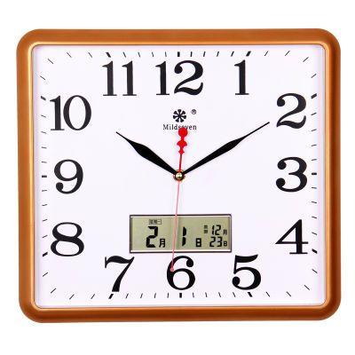七王星静音挂钟简约创意钟表客厅卧室挂表方形石英钟现代时钟表