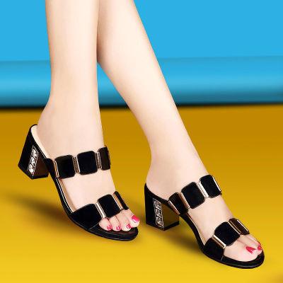真皮拖鞋女2020夏季网红同款女士拖鞋外穿中跟粗跟一字防滑凉拖鞋