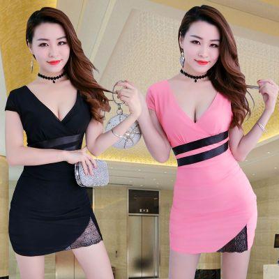 夜店性感女装韩版连衣裙夜场酒吧足浴技师桑拿技师工装包臀短裙女