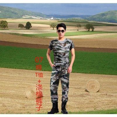 迷彩服短袖套装男女T恤夏季薄款纯棉弹力耐磨工作野战军训