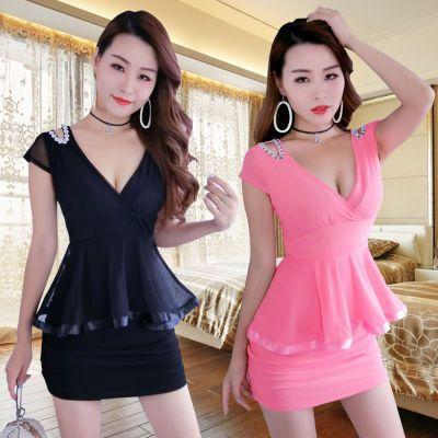 夜店女装性感连衣裙子短袖新假两件场桑拿技师服工装遮肚包臀短裙