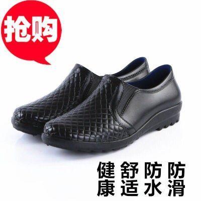 新款时尚防水鞋仿皮晴雨鞋胶鞋低帮水鞋厨房工作鞋防滑短筒雨鞋男