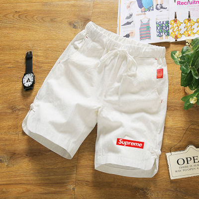 夏季纯棉白色短裤男大码休闲五分裤中国风运动沙滩裤中裤大裤衩薄