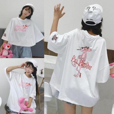 中长款t恤女夏季女装上衣宽松粉红豹衣服中袖学生韩版百搭五分袖