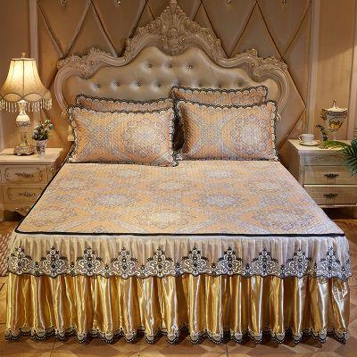 凉席冰丝席三件套1.8m床夏季1.5空调折叠床裙床罩款可脱卸式席子