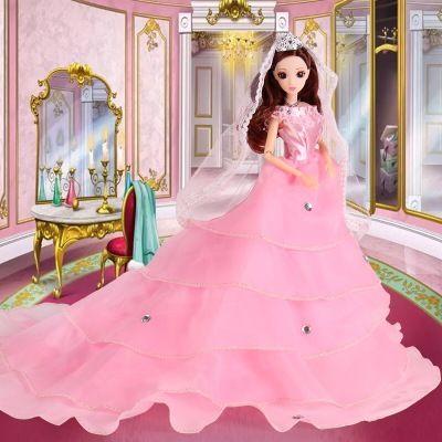 会唱歌+带灯光 洋芭比娃娃婚纱套装大礼盒女孩儿童节玩具礼物
