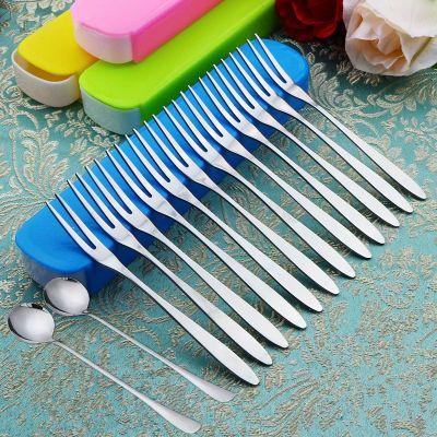【收纳盒+15支叉】不锈钢水果叉水果签甜品便捷餐具套装
