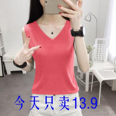 大码冰丝吊带背心女夏季新款韩版外穿打底针织衫宽松无袖短款上衣