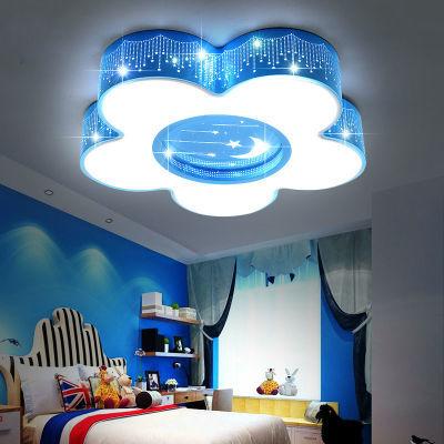 儿童房间灯现代简约大方LED主卧室吸顶灯北欧卡通男孩女孩遥控灯