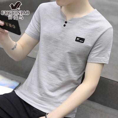 95棉富贵鸟短袖男士T恤夏季v领半袖学生韩版体恤男装潮流上衣服男